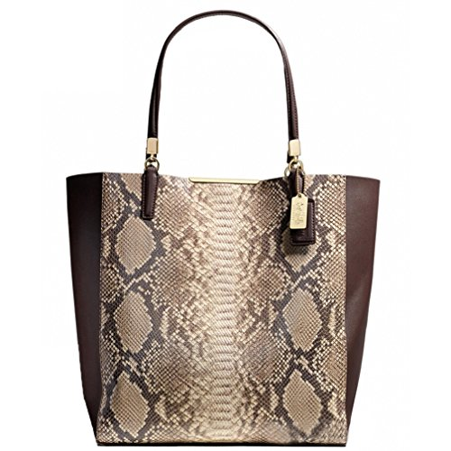 Coach Madeline Python Embossed Leather North South Bonded Tote 28294 Brown Multi