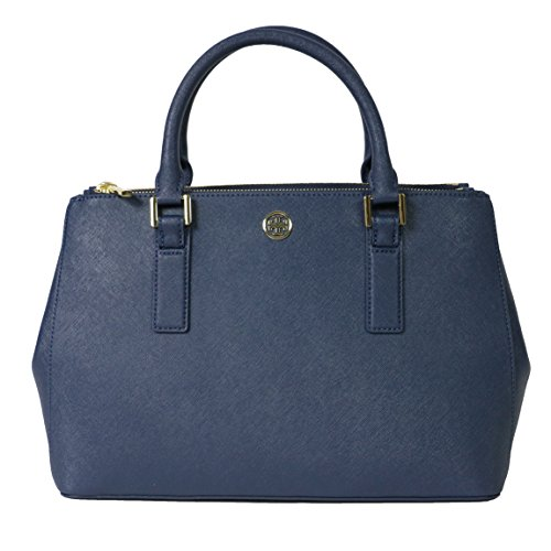 Tory Burch Tote Robinson Leather Handbag Bag Hudson Bay Blue
