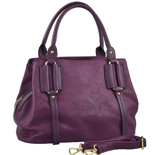 Convertible Tote Purse for Women / Shoulder Bag with Detachable Strap, Purple