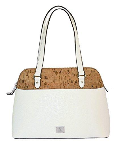LAUREN Ralph Lauren Women's Hanway Cork Dome Satchel Tote Vanilla Purse Handbag