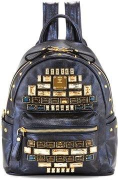 MCM Mini Edeline Navy Metallic Bacpack Topaz Gold Leather Handbag Bag New