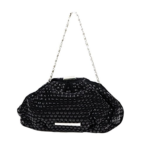 BCBGeneration Womens Beaded Pouch Style Framed Clutch Bag Black 200826TAG