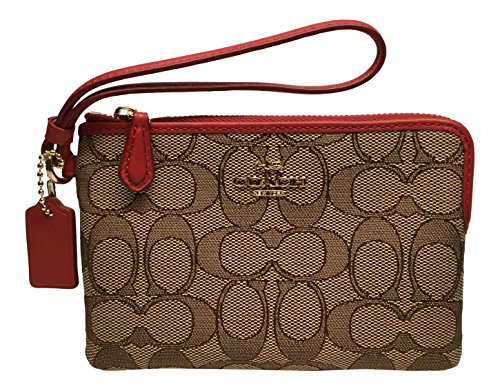 Coach Outline Signature Small Wristlet 54627 Khaki True Red