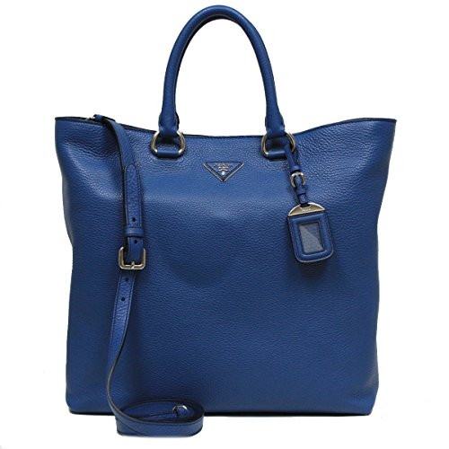 Prada Vitello Daino Cobalto Blue Pebbled Leather Shopping Tote Handbag with Shoulder Strap BN1713