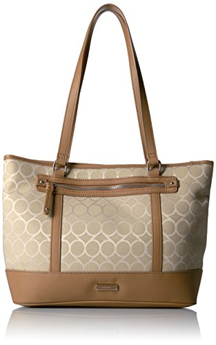 Nine West 9s Jacquard Medium Tote, Lt Sandstone/Dk Camel