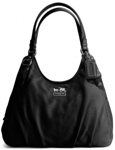 Coach Madison Leather Maggie Shoulder Bag Purse Tote 16503 Black