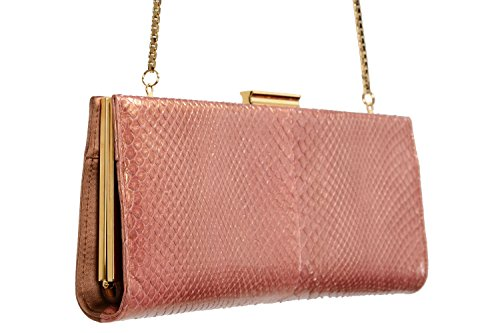 "Salvatore Ferragamo Women's ""KAMERON"" Python Skin Leather Canvas Clutch"
