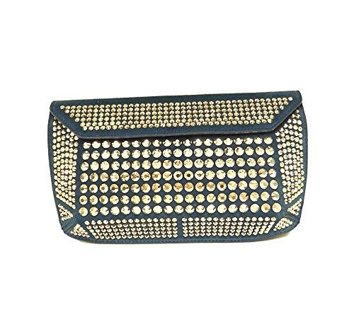 Giuseppe Zanotti Women's Suede Blue Clutch Handbag with Silver Crystals