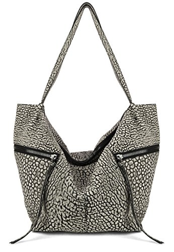 Kooba Elton Tobo Black & Cream Bubble Leather Hobo Tote Hybrid Handbag