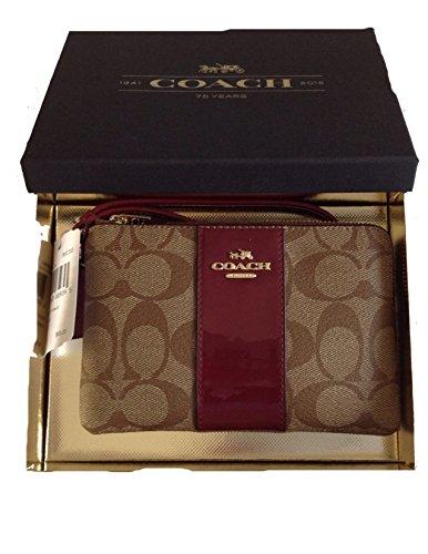Coach Signature Leather Khaki/Burgundy Corner Zip Wristlet In Gift Box