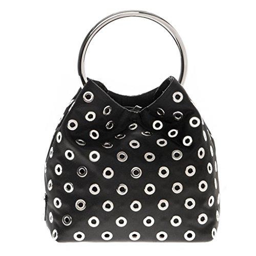 Prada Women's Wristlet All-Over Grommet Steel Ring Handle Bag Black