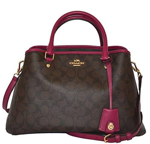 Coach Signature SM Margo Carryall Tote Purse Handbag Bag Brown Fuchsia