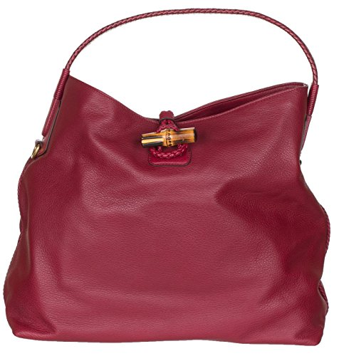 Gucci Raspberry Leather Hip Bamboo Medium Tote Bag