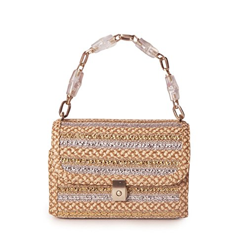 Eric Javits Designer Women's St. Barths Treasure Chest Bag (Peanut/Silver/Gold)