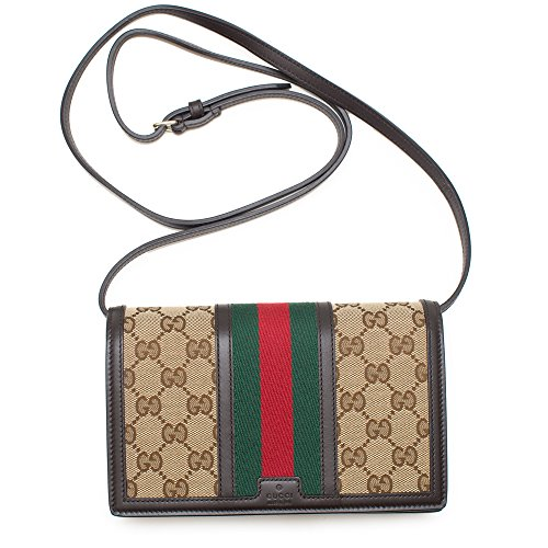 Gucci Natural Beige Ebony Black Gg Canvas Web Stripe Convertible Crossbody Box New