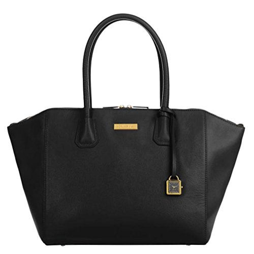 "JOY & IMAN Genuine Leather ""Best Friend"" City Womens Satchel with Watch – Black"