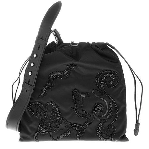 Prada Women's Embellished Drawstring Shoulder Bag Black