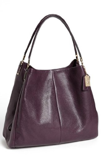 Coach Madison Leather Phoebe Shoulder Handbag Purse Black Violet