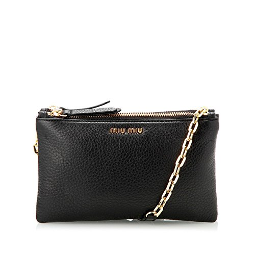 Miu Miu by Prada 5BH040 Leather Chain Cross-Body Shoulder Bag – Black