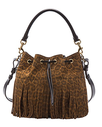 SAINT LAURENT 'YSL' Emmanuelle Fringed Sac Bucket Bag Leopard Print Suede Leather Shoulder Handbag Purse 340240