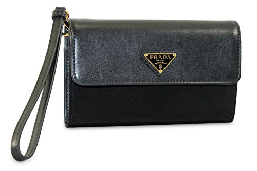 Prada Tessuto Soft Calfskin Leather & Nylon Wristlet Wallet, Black 1MH438