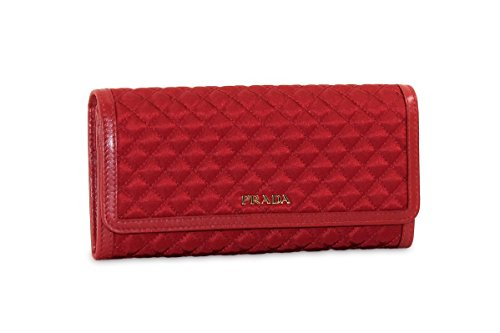 Prada Tessuto Quilted Nylon with Leather Wallet, Red (Fuoco) 1M1132