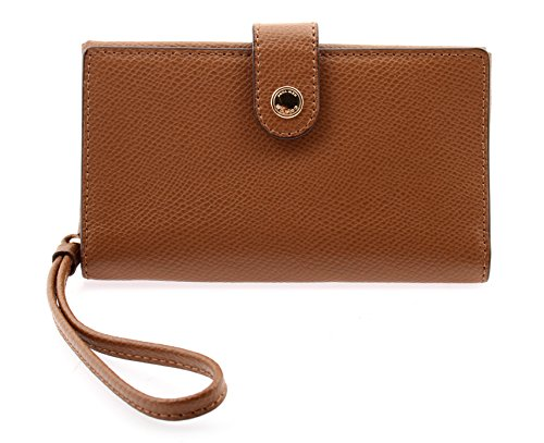 Coach Phone Leather Clutch in Saddle, F53977 IMSAD