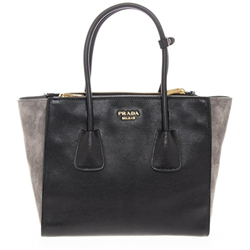 Prada Women's and Suede Tote Black + Grey