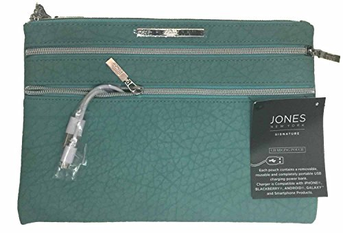 Jones New York Signature Phone Charging Pouch Clutch Purse Turquoise Textured