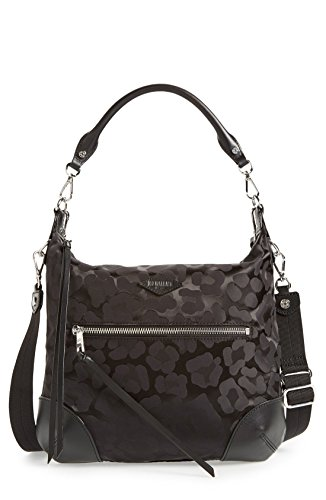 MZ Wallace Parker Shoulder Bag Black Animal Leopard Print Handbag New