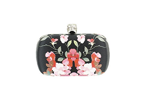 Alexander Mcqueen Womens Skull Floral Box Clutch Handbag Black Satin
