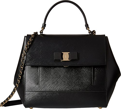 Salvatore Ferragamo Carrie 21F558 Nero Satchel Handbags