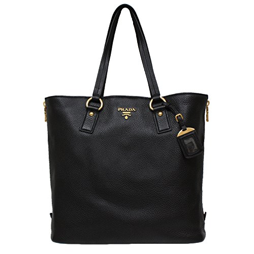 Prada Vitello Daino Nero Pebbled Leather Large Shopping Tote Bag BR4372 1BG075