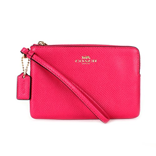 Coach F54626 Leather Corner Zip Wristlet Pink Ruby