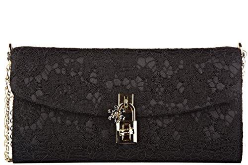 Dolce&Gabbana women's clutch handbag bag purse dolce pizzo taormina black