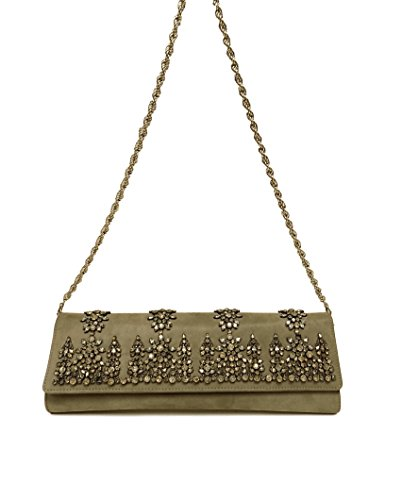 Roberto Cavalli Purse Clutch Suede Gray Studded Handbag
