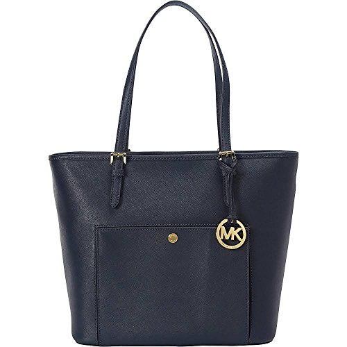 MICHAEL Michael Kors Jet Set Item Large Top Zip Snap Pocket Tote Admiral Blue