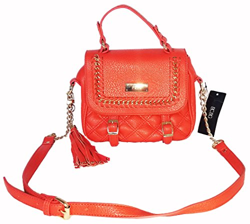 BCBG PARIS RED LEATHER CROSSBODY BAG STUDDED TASSEL CHAIN LINK