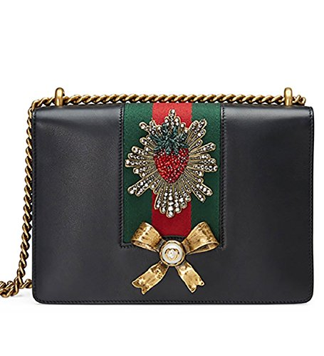 Gucci Peony Strawberry Black Leather shoulder bag Winter 2016 New