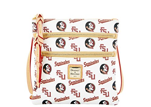 Dooney and Bourke Florida State Seminoles Triple Zip Crossbody Handbag – White