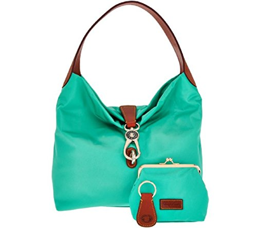 Dooney & Bourke Nylon Hobo with Logo Lock & Accessories (Mint)