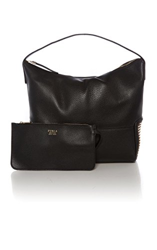 Furla Astra Leather Medium Shoulder Bag Black