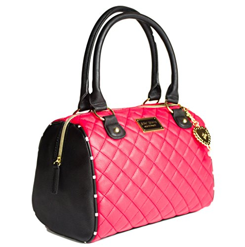 Betsey Johnson Red Diamond Quilt Rhinestone Heart Charm Faux Leather Lady Satchel Shoulder Bag
