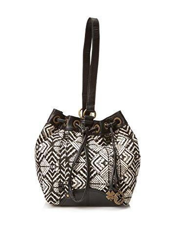 Lucky Brand Womens Bali Hai Sling Fabric Purse (Black/White Geometric Pattern)