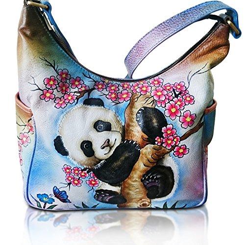 .Genuine Leather Women's Handbag Hand Painted Handmade Shoulder Bag Hobo FLORAL Satchel SALE