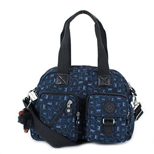 Kipling Defea Multicoloured Print Cross Body Bag Monkey Mania Blue