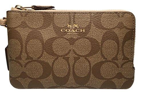 COACH Signature PVC Double Corner Zip Wristlet Wallet F66506 Khaki Platinum