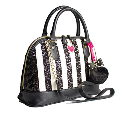 Betsey Johnson Sequin Stripe Pompom Charm Large Dome Satchel Crossbody Shoulder Bag