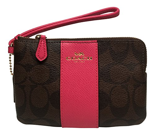 Coach Signature PVC Corner Zip Wristlet Brown with Pink Ruby Stripe 54629