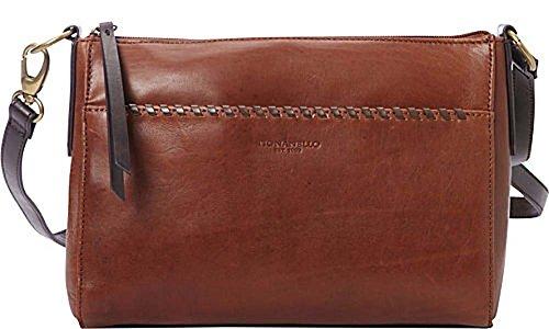 Tignanello Classic Whipstitch Cross Body, Rust/Dark Brown, T56610A